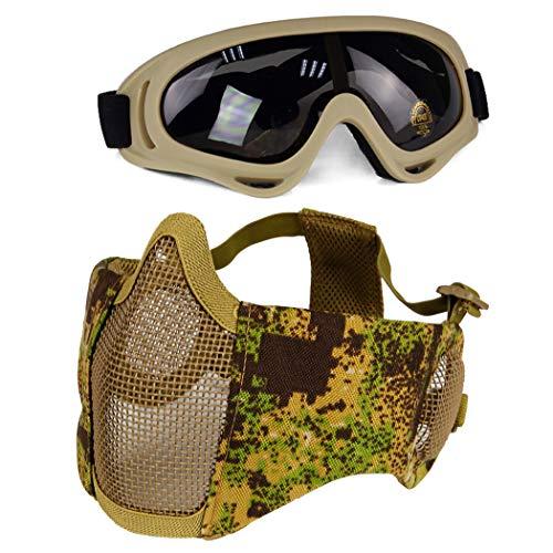 Aoutacc Airsoft Schutzausrüstung, Halbgesichtsmasken mit Ohrenschutz und Brille Set für CS/Jagd/Paintball/Shooting, PG