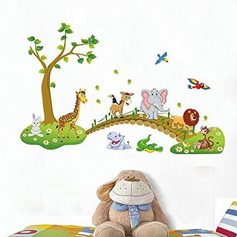 Rainbow Fox Jungle Waldtier Affe, Eichh?rnchen und Eule Schaukel Spiel auf bunten bl?ttern Baum Wandtattoo