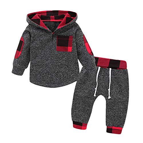Babykleidung,Vovotrade 2er Kleinkind Baby Jungen Mädchen Kleidung Set Plaid Hoodie Tops + Hosen Set Outfits Dünn/Dicke Grau 6 Monate - 3 Jahre alt