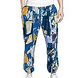 ZhiYuanAN Hommes Impression Longue Pantalons De Plage En Vrac Joggers Gym Sports Pants De Couleur Bohême Sarouel Pantalons Saphir XL