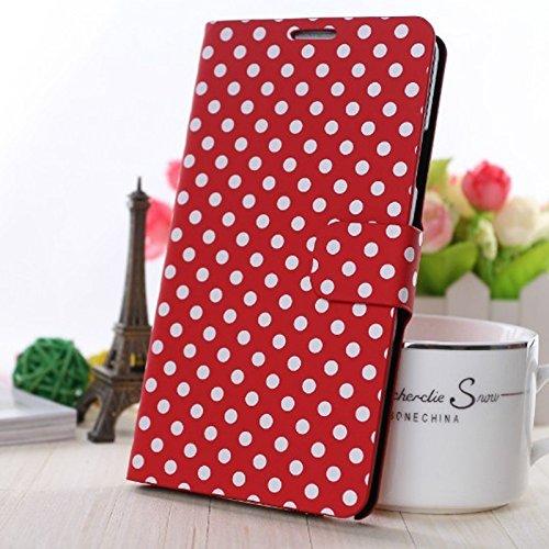 König-Shop Apple iPhone 6 Handy Hülle Schutzhülle Tasche (Flip Quer) Wallet Rockabilly Etui Schutz Case Cover Bumper Standfunktion Hellblau / Weiß Gepunktet Rot