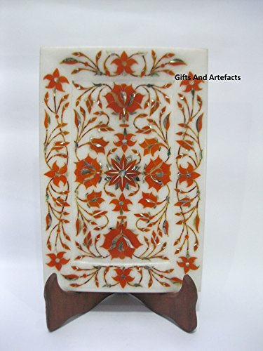 Gifts And Artefacts Plateau de Service Cum carrelage en marbre Blanc 22,9 x 15,2 cm Rectangle Cornaline Pierres Incrustation Motif Floral