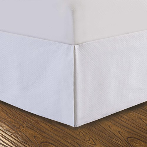 DreamSpace Diamond Matelasse Tailored 14 Bedskirt, California King, White by DreamSpace -
