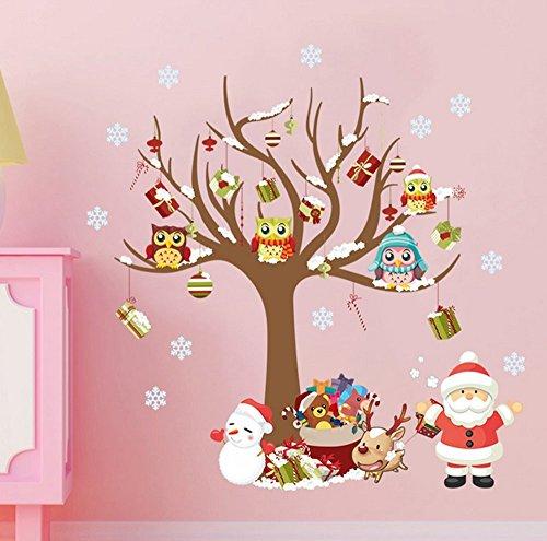 Extsud Adesivi Murales Natale, Carta da Parete Babbo Natale Albero Regali, Wall Stickers Festa Merry Christmas Decorazione Natalizia per Casa Camerette Salotto Fai Da Te