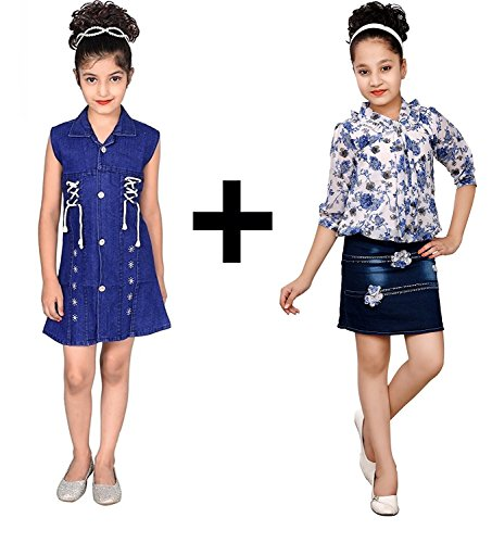 kids summer FANCY denim midi frock COMBO pack of TWO - birthday,party...
