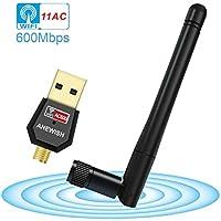 ANEWISH® Antena WiFi USB ac 600 Adaptador WiFi USB 5Ghz Dual Band Receptor WiFi Inalámbrico Dongle WiFi USB PC para Windows 10/8/7/ Vista/ XP/ 2000, Mac Os