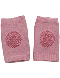 Isuper Baby Knieschoner, Baby Knieschützer mit Anti-Rutsch Gummipunkte für Baby Mädchen oder Jungen Krabbelhilfe für Kleinkinder von 0-bis 2 Jahre (Rosa)