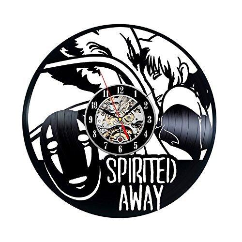 Meet Beauty The Spirited Away Cartoon Anime Wanduhr aus Vinyl, modernes Design, handgefertigt, zum Aufhängen, Uhrzeit für Kinderzimmer, Innendekoration, Wandbild, Poster, 30 x 30 cm, Schwarz
