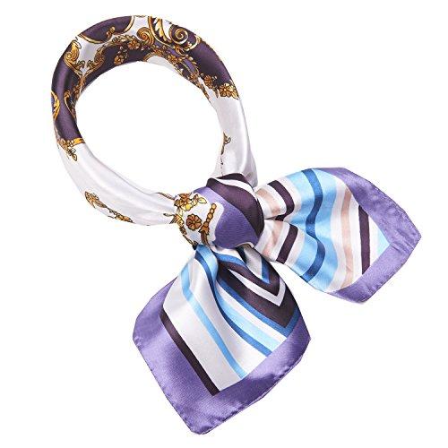 SXON Blumen Bedruckter Seidentuch Kleiner Quadratischer Tuch Geschenk für Elegante Frau Accessories (Muster-Lila)