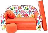 PRO COSMO F9, Divano Letto con Pouf/poggiapiedi/Cuscino, in Tessuto, per Bambini, 168x 98x 60cm, Arancione
