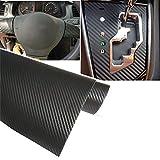 TRIXES 3D Carbon Fibre Vinyl Adhesive Wrap for Car - 1500 x 300 mm - Black - for Interior/Exterior - Textured 3D Effect