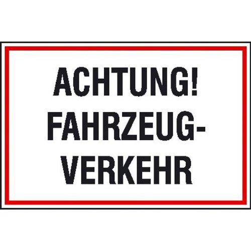 Achtung! Fahrzeug-Verkehr Hinweisschild zur Baustellenkennz., Alu, 60x40 cm