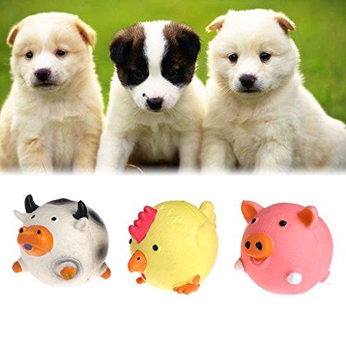 Yunso Haustier Hund Gummi Quietschen Spielzeug,Hund Interaktive Spielzeug Kauen Spielzeug mit Klingen - Hundespielzeug Kuh