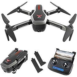 Goolsky SG906 GPS Drone 4K sin escobillas con cámara Bolso 5G WiFi FPV Flujo óptico Plegable Altitud de posicionamiento Sostén RC Quadcopter Drone (Negro, 2 Baterías)