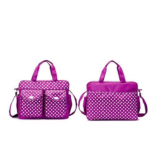 Kangming Multifunktions Baby Windel Wickeltasche Set Polka Dot windelwechsels Umhängetasche Handtasche violett