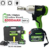AutoBaBa Electric Impact Wrench 18V with 6.0Ah Li-ion Battery, 1/2 Inch Square Drive