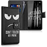 kwmobile Wallet Case Kunstlederhülle für Wiko Lenny 3 - Cover Flip Tasche in Don't touch my Phone Design mit Kartenfach und Ständerfunktion in Weiß Schwarz