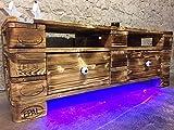 """Lowboard Palettenmöbel Sideboard mit LED – Beleuchtung """"Florenz"""" im Europaletten Stil geflammt und geölt mit Schubladen"""