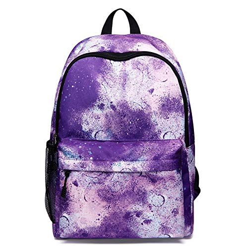 Unisex Backpack Galaxy School Backpack Leinwand-Rucksack Laptop-Tasche Satchel Wandersack,Purple