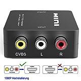 HDMI Konverter (Cinch/Composite AV/CVBS/RCA zu HDMI),Full HD 720p/1080p,USB-Stromversorgung,PAL/NTSC,für PS3,Digitalempfänger,Xbox,Videorecorder,Blue-Ray/DVD-Player,Fernsehgeräte- Schwarz