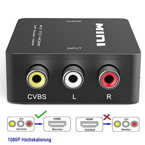 HDMI Konverter (Cinch/Composite AV/CVBS/RCA zu HDMI),Full HD 720p/1080p,USB-Stromversorgung,PAL/NTSC,für PS3,Digitalempfänger,Xbox,Videorecorder,Blue-Ray/DVD-Player,Fernsehgeräte- Schwarz (Cinch Hdmi-konverter Von)