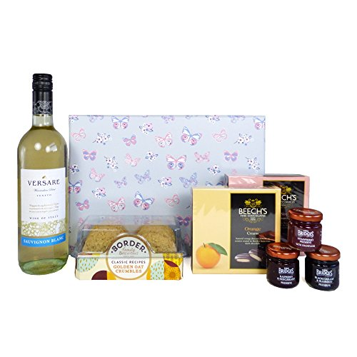 Versare White Wine and Nibbles Hamper Presented in a Delightful Butterfly Gift Box - Gift Ideas for Birthday, Wedding, Anniversary and Corporate
