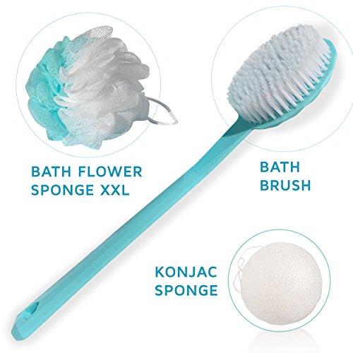 Caja exfoliante facial y corporal con cepillo de cuerpo, flor de baño ducha y esponja konjac para la cara - idea de regalo de Navidad para mujer- turquesa