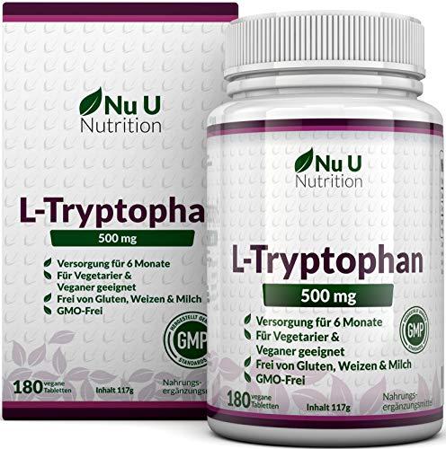 L-Tryptophan 500mg, 180 Tabletten (Versorgung für 6 Monate, Frei von Allergenen, Vegetarisch und Vegan, Hergestellt in Großbritannien von Nu U Nutrition