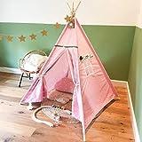[TIPI ZELT] Indianerzelt für Kinder - für Kinderzimmer - Wigwam 140x120x120 cm - Tipi tent Baumwollsegeltuch - Für in und um ihr haus - mit 4 Holzstangen und Fenster - GadgetQounts (Rosa)