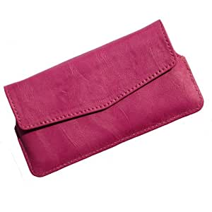 i-KitPit Quality PU Leather Pouch Case With Magnet Closure For intex Aqua Superb (PINK)