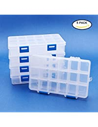 BENECREAT 5 Pack 18 Grids Jewelry Dividers Box Organizer Adjustable High Quality Clear Plastic Bead Case Storage Container 16.5x10x3cm, Compartment: 3x2.5cm