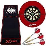 XL Dartset - Dartboard, Pfeile, Dartteppich und Surround rot