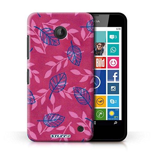 Kobalt® Imprimé Etui / Coque pour Nokia Lumia 635 / Rouge/Violet conception / Série Motif Feuille/Branche Rose/Bleu