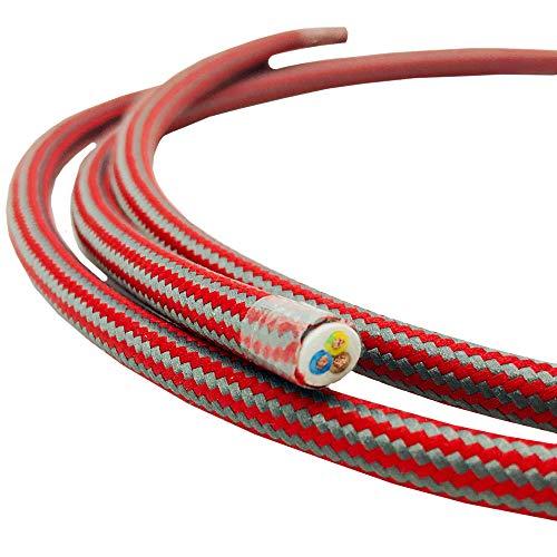 1,20 metros cable tela rojo gris zigzag rayas 3 hilos