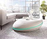 DELIFE Wohnzimmertisch Rock Grau 100x100 Beton Optik mit LED Beleuchtung Couchtisch