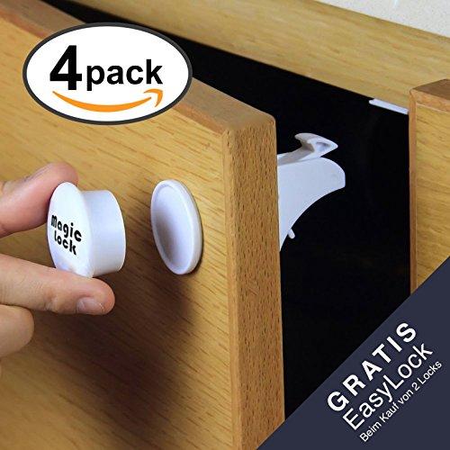 SicurezzaPrima MagicLock - die magnetische Kindersicherung mit Video-Anleitung für Schrank, Schranktüren und Schubladen, als Schrankschloss und Schubladensicherung mit Magnet, 4er Pack Test