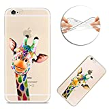 Case for iPhone SE, for iPhone 5S 5 Case, Sunroyal Ultra Slim Soft Hybrid TPU Silicone Gel Skin Creative Pattern Printed Flexible TPU Back Protective Case Cover for iPhone SE 5 5S - Colorful Giraffe