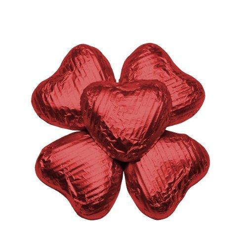 FLAIRELLE Vollmilch Schokoherzen in Folie, Rot, zarte Schokoladenherzen, Hochzeit oder als Gastgeschenke, Give Aways, Valentinstag, Weihnachts-Schokolade, 50 Stück
