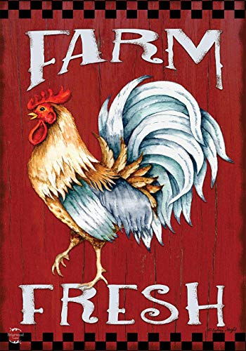 ASKYE Farm Fresh Rooster Summer Garden Flag Barn Wood for Party Outdoor Home Decor(Size: 28inch W X 40inch H) Farm Fresh Rooster