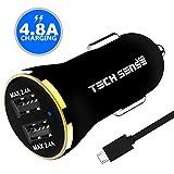 #7: Tech Sense Lab (Australia) 4.8A, 23W Dual USB Ultra Fast Car Charger (Black N Gold)