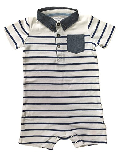 BABY-BOYS-STRIPED-ROMPER-SHORT-SLEEVE-NAVY-WHITE-EX-UK-STORE
