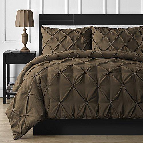 Doppelnadel Langlebig Nähte kuscheliges Betten 3-teilig Pinch Falte Tröster Set, Polyester-Mischgewebe, braun, Volle Größe