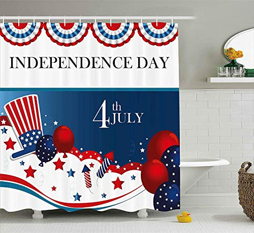 BUZRL 4th of July Shower Curtain, Cartoon Style Fireworks Uncle Sam Hat Stars and Balloons Patriotic Illustration, Fabric Bathroom Decor Set with Hooks,60 * 72inch, Multicolor