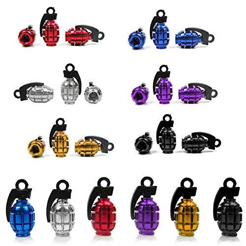 VORCOOL 12 stücke Metall Granate Shaped Auto Bike Motorrad Reifen Ventil Staubschutzkappen Abdeckungen in 6 Verschiedenen Farben