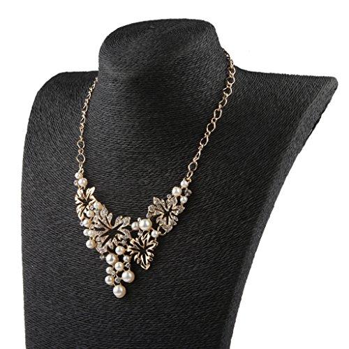 Generic Femmes Perle Strass Cristal Collier Boucles D'oreilles Bijoux Décor Or