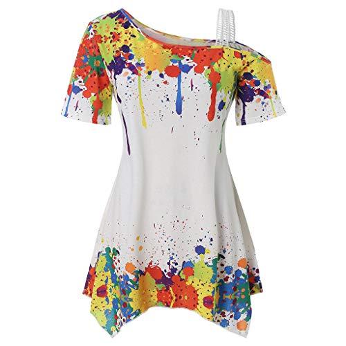 Women Mode Farbdruck Kurzarm,Schultergurt aus Spitze T-Shirt-Oberteil mit unregelmäßigem Saum,JMETRIC Freizeit Tops(Weiß,2XL)