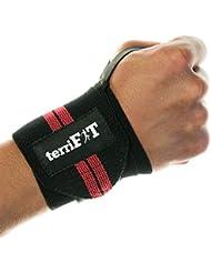 Bandes de poignets pour la musculation de terriFIT – 45 cm, résistance moyenne, avec passe-pouce – Pour la protection des poignets pendant le Crossfit et toutes les activités de musculation – Paire de deux – Hommes et femmes