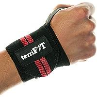 Muñequeras de terriFIT para levantamientos de pesas - Para entrenamientos pesados y desafiantes de Levantamiento de pesas y CrossFit - Velcro Ancho - 46 de largo