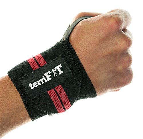 Fasce da polso (wrist wraps) per sollevamento pesi terrifit - 46 cm medium duty con fascia per il pollice - crossfit, pesi, protezione per allenamenti - coppia di due fasce - uomini e donne