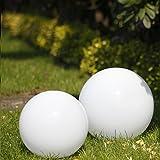 2er Kugelleuchten-Set für Ihren Garten | Kugeln in Ø15cm, Ø25cm | Leuchten mit 2m Gummianschlussleitung und Stecker | Außenleuchten aus schlagfestem Acryl | Gartenbeleuchtung Aussen